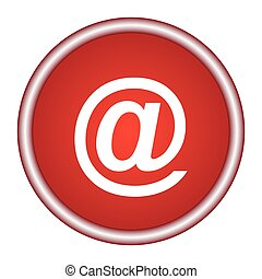Email symbol. Round vector red icon.