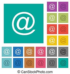 Email symbol square flat multi colored icons