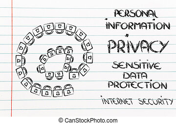 email, symbole, fait, de, locks:, sécurité internet, et, confidentiel, je