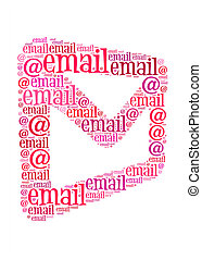email text on envelope graphic and arrangement concept