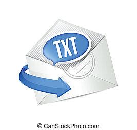 email txt message illustration design over white