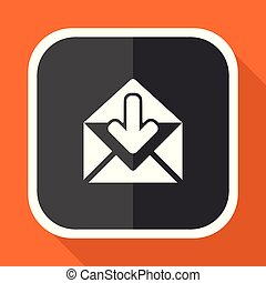 Email vector icon. Flat design square internet gray button on orange background.