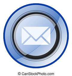Email vector icon. Message blue glossy button. Letter web symbol.