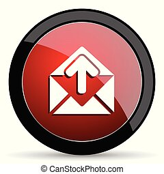 Email vector icon. Modern design red and black glossy web and mobile applications button in eps 10