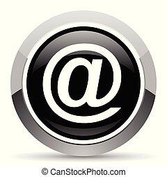 Email vector steel icon. Chrome border round web button. Silver metallic pushbutton.