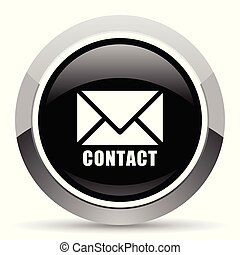 Email vector steel icon. Chrome border round web button....