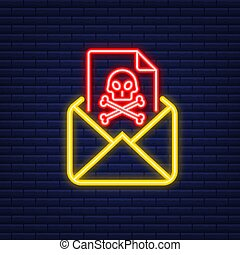 Email virus. Neon icon. Computer screen. virus, piracy, hacking and security, protection. Vector stock illustration
