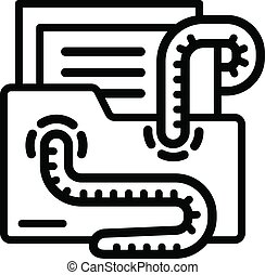 Email virus worm icon, outline style