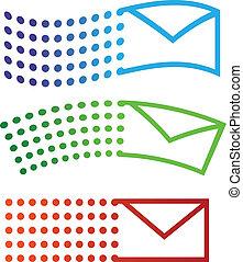 email, voando, ícones