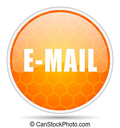 Email web icon. Round orange glossy internet button for webdesign.