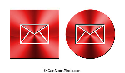 Email-Web, round and square metallic button