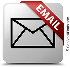 Email white square button red ribbon in corner