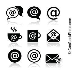 email, wifi, café, icônes internet
