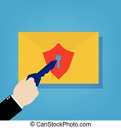 Email with security shield lock and businessman with key to unlock. Vector illustration cyber security concept flat design.