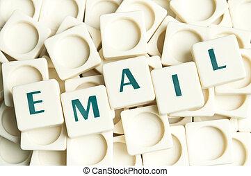 email, woord, gemaakt, door, leter, stukken