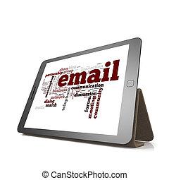 email, woord, wolk, op, tablet