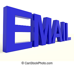 Email Word In Blue For Emailing Or Contacting