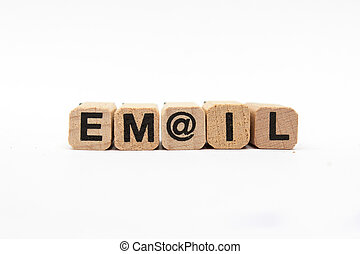 email - word / letters on wooden cu