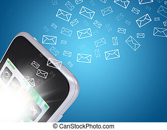 Emails fly out of smartphone screen