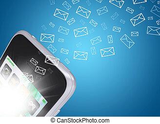 emails, vlieg, uit, van, smartphone, scherm
