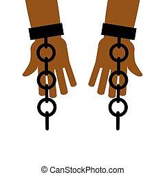 emancipación, de, slavery., interrupción, free., cadenas, en, esclavo, hands., liberación, de, bondage.