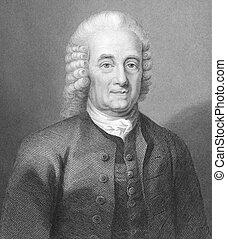 Emanuel Swedenborg (1688-1772) on engraving from the 1700s. Swedish scientist, inventor, philosopher, Christian mystic and theologian. Engraved by W.Holl and published in London by A.Fullatron & Co.