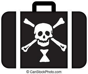 emanuel, wynn, 海盜, flag., 小提箱, 圖象, 旅行, 以及, 運輸, 概念