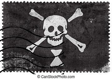 Emanuel Wynn Pirate Flag, old postage stamp