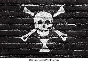 Emanuel Wynn Pirate Flag, painted on brick wall