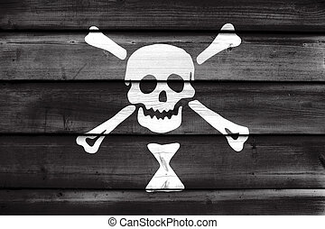 Emanuel Wynn Pirate Flag, painted on old wood plank background