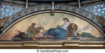 emanuele, galleria, representar, asia, mosaico, ii, vittorio