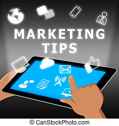 emarketing, marketing, raad, illustratie, tips, 3d, optredens