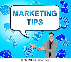 emarketing, marketing, raad, illustratie, tips, het tonen, 3d