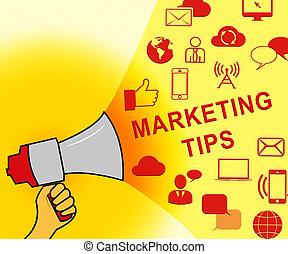 emarketing, marketing, raad, illustratie, tips, het vertegenwoordigen, 3d