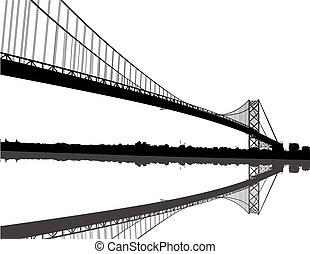 embaixador, silueta, ponte