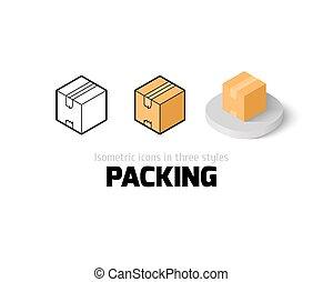 embalagem, ícone, estilo, diferente