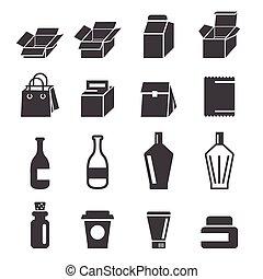 embalagem, ícones