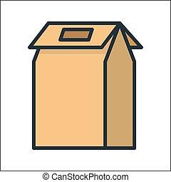 embalagem, caixa, cor, ícone