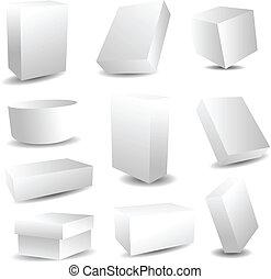 embalagem, caixas, em branco
