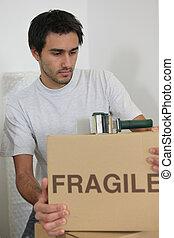 embalagem, caixas, homem