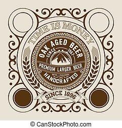 embalagem, cerveja, desenho, etiqueta