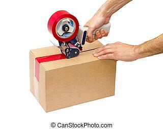 embalagem, distribuidor, fita, arma