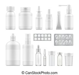 embalagem, farmacêutico, médico, em branco