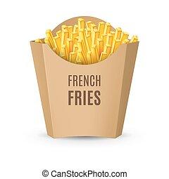 embalagem, frita, francês