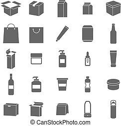 embalagem, fundo branco, ícones
