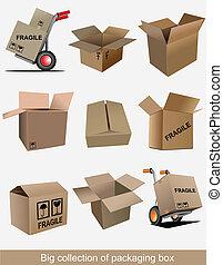 embalagem, grande, cobrança, caixa papelão