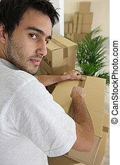 embalagem, homem, caixas, jovem