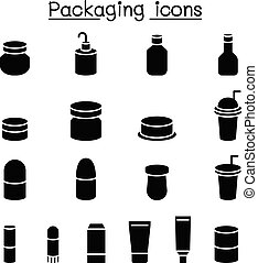 embalagem, jogo, ícone