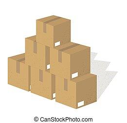 embalagem, jogo, caixas