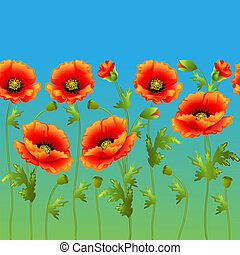 embalagem, luminoso, meio-fio, fundo, papoula, flores